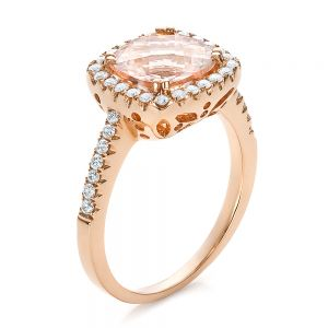 Antique Cushion Morganite and Diamond Halo Ring - Image