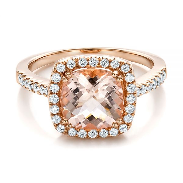 14k Rose Gold Antique Cushion Morganite And Diamond Halo Ring - Flat View -  100456
