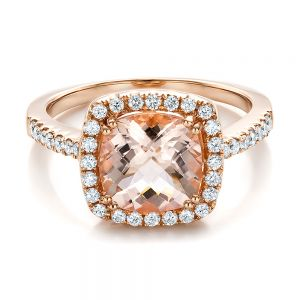 Antique Cushion Morganite and Diamond Halo Ring