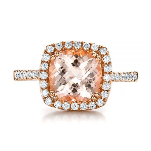 14k Rose Gold Antique Cushion Morganite And Diamond Halo Ring - Top View -  100456
