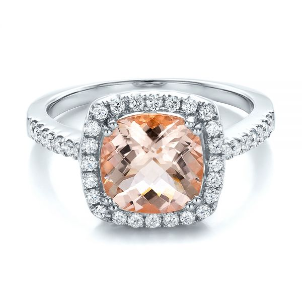 18k White Gold 18k White Gold Antique Cushion Morganite And Diamond Halo Ring - Flat View -