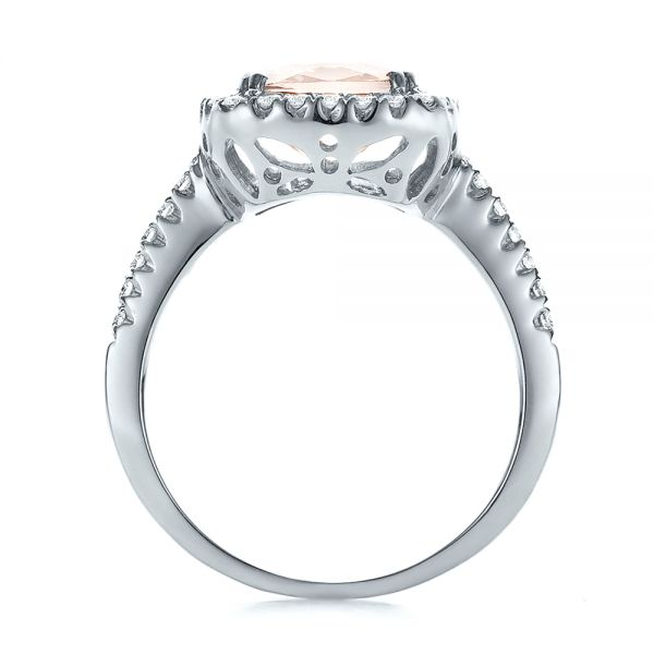 18k White Gold 18k White Gold Antique Cushion Morganite And Diamond Halo Ring - Front View -
