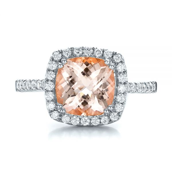 18k White Gold 18k White Gold Antique Cushion Morganite And Diamond Halo Ring - Top View -