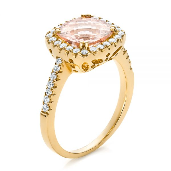 18k Yellow Gold 18k Yellow Gold Antique Cushion Morganite And Diamond Halo Ring - Three-Quarter View -