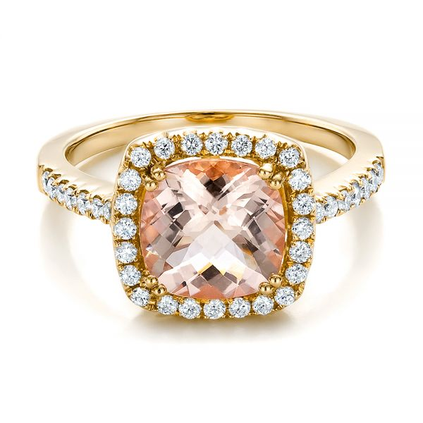 18k Yellow Gold 18k Yellow Gold Antique Cushion Morganite And Diamond Halo Ring - Flat View -
