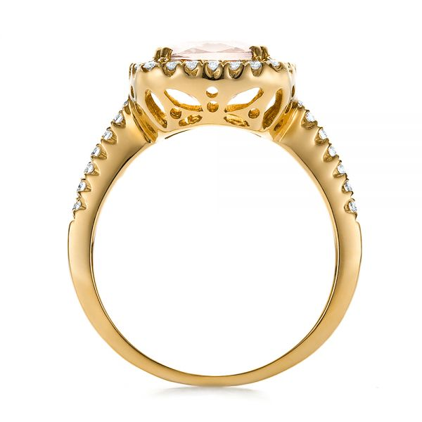 18k Yellow Gold 18k Yellow Gold Antique Cushion Morganite And Diamond Halo Ring - Front View -