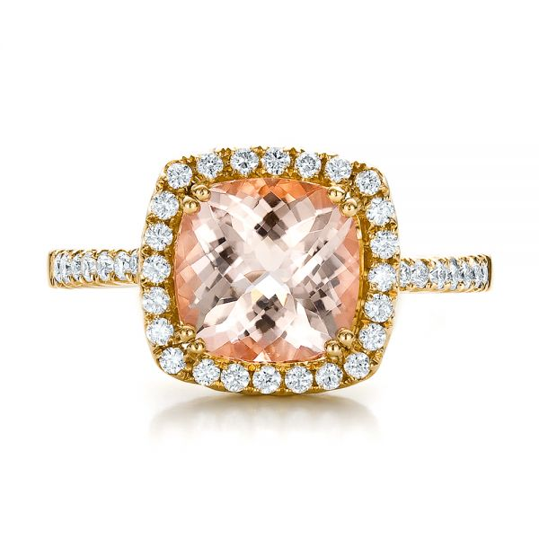 18k Yellow Gold 18k Yellow Gold Antique Cushion Morganite And Diamond Halo Ring - Top View -