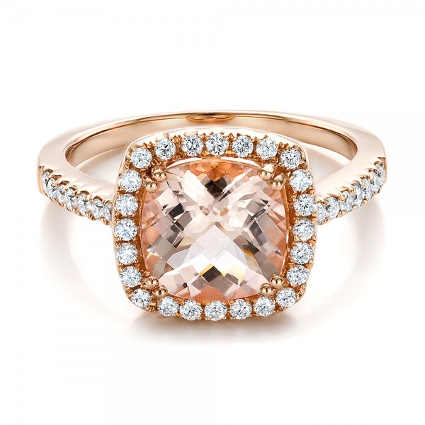 Antique Cushion Morganite and Diamond Halo Ring - Laying View