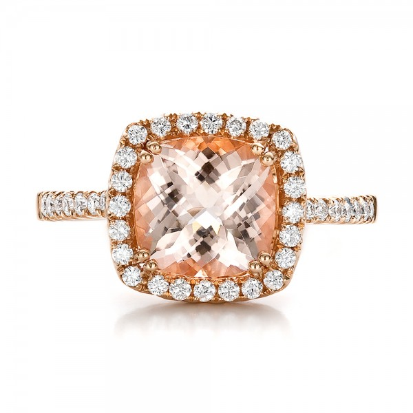 Antique Cushion Morganite and Diamond Halo Ring - Top View