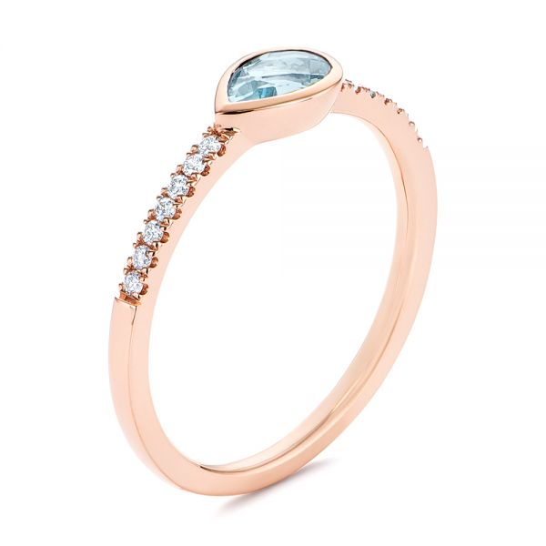 18k Rose Gold 18k Rose Gold Aquamarine And Diamond Fashion Ring - Three-Quarter View -  105399