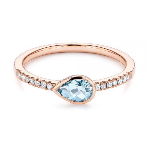 18k Rose Gold 18k Rose Gold Aquamarine And Diamond Fashion Ring - Flat View -  105399