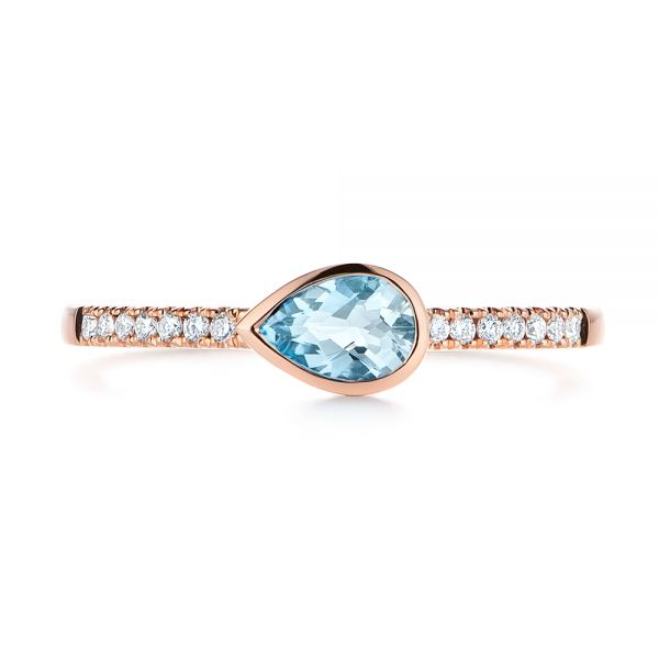 18k Rose Gold 18k Rose Gold Aquamarine And Diamond Fashion Ring - Top View -  105399