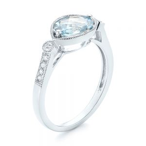 Aquamarine and Diamond Fashion Ring