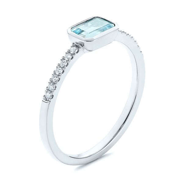 Aquamarine and Diamond Fashion Ring - Image