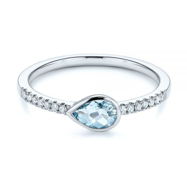 14k White Gold Aquamarine And Diamond Fashion Ring - Flat View -  105399