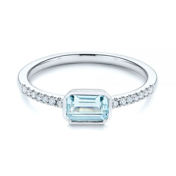 18k White Gold 18k White Gold Aquamarine And Diamond Fashion Ring - Flat View -  105400
