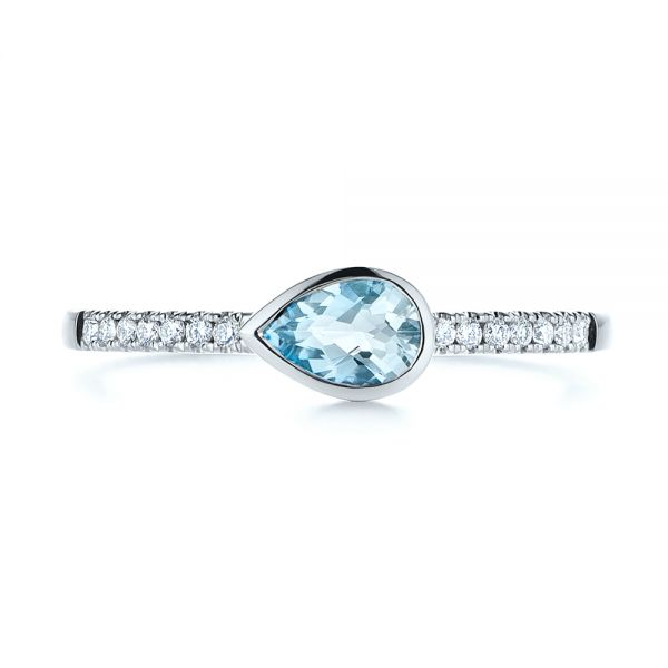 14k White Gold Aquamarine And Diamond Fashion Ring - Top View -  105399