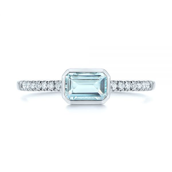 18k White Gold 18k White Gold Aquamarine And Diamond Fashion Ring - Top View -  105400