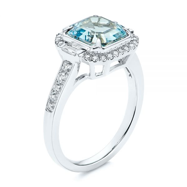 Aquamarine and Diamond Halo Fashion Ring - Image