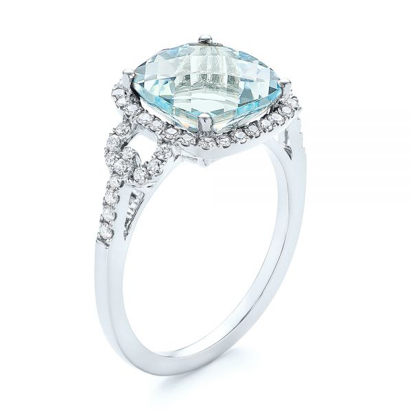 Aquamarine and Diamond Halo Ring - Image