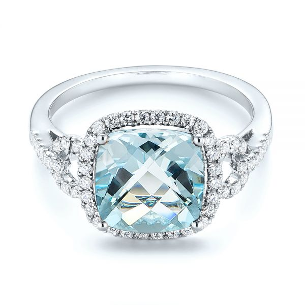 14k White Gold Aquamarine And Diamond Halo Ring - Flat View -  105011