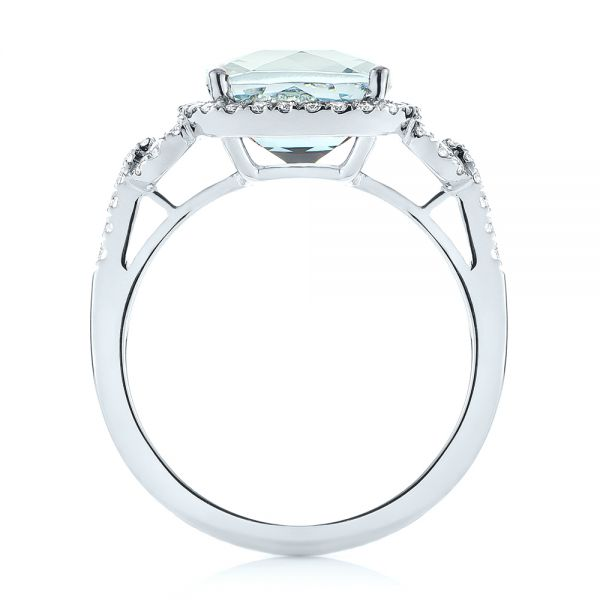 14k White Gold Aquamarine And Diamond Halo Ring - Front View -  105011