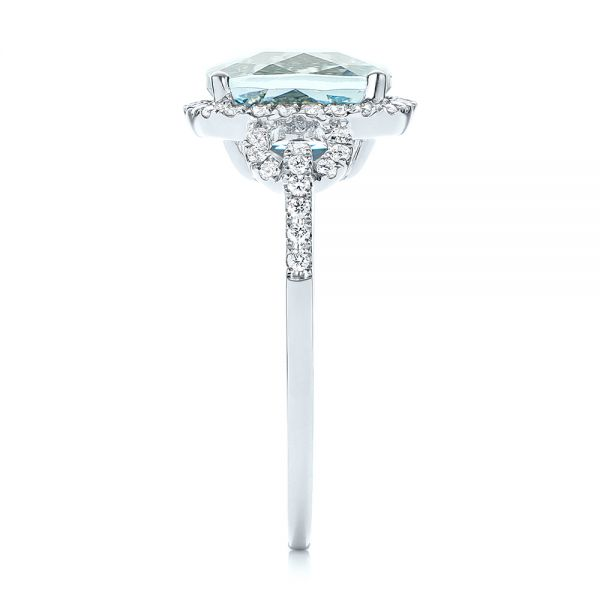 14k White Gold Aquamarine And Diamond Halo Ring - Side View -  105011
