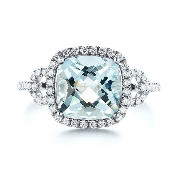 14k White Gold Aquamarine And Diamond Halo Ring - Top View -  105011