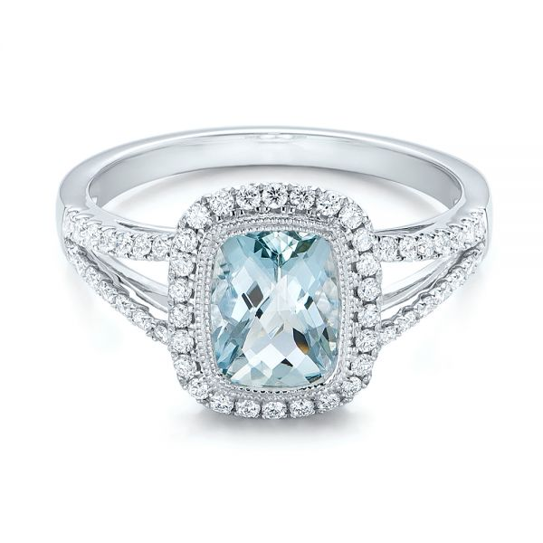 Aquamarine And Diamond Halo Split Shank Ring 101940
