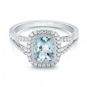 Aquamarine and Diamond Halo Split Shank Ring