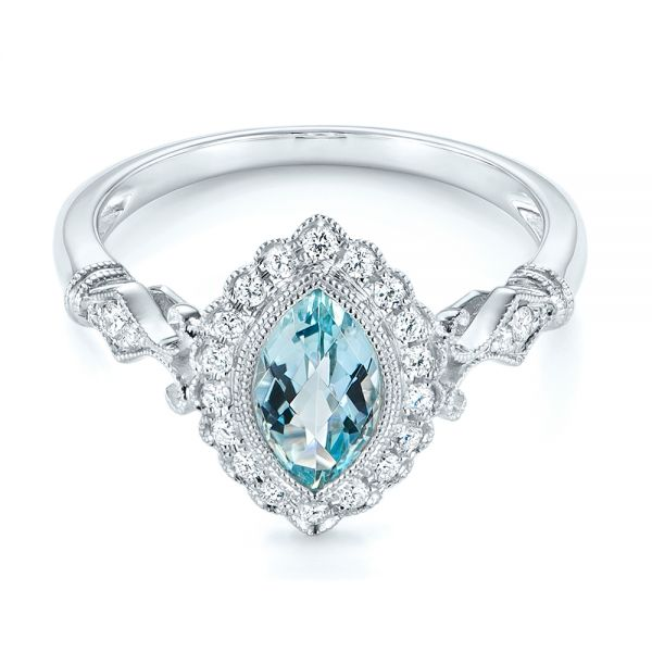 14k White Gold Aquamarine And Diamond Halo Vintage-inspired Ring - Flat View -