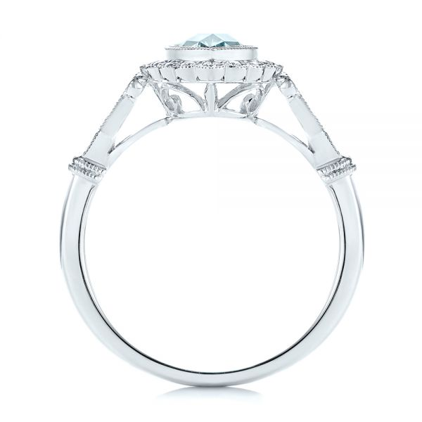 14k White Gold Aquamarine And Diamond Halo Vintage-inspired Ring - Front View -
