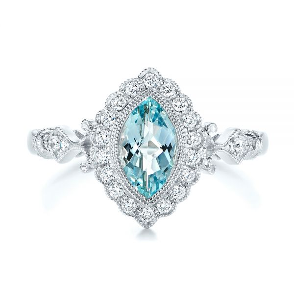 14k White Gold Aquamarine And Diamond Halo Vintage-inspired Ring - Top View -