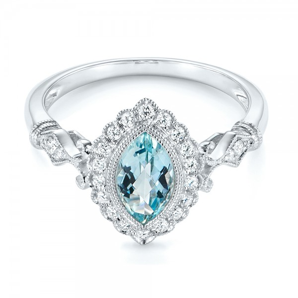 Aquamarine and Diamond Halo Vintage-inspired Ring - Laying View