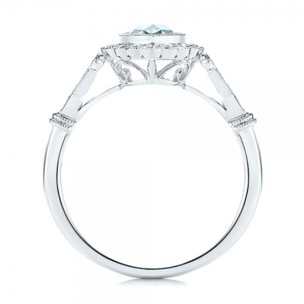 Aquamarine and Diamond Halo Vintage-inspired Ring - Finger Through View