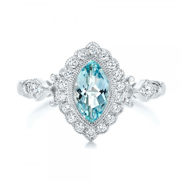 Aquamarine and Diamond Halo Vintage-inspired Ring - Top View
