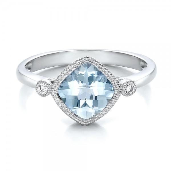 Aquamarine and Diamond Ring - Laying View