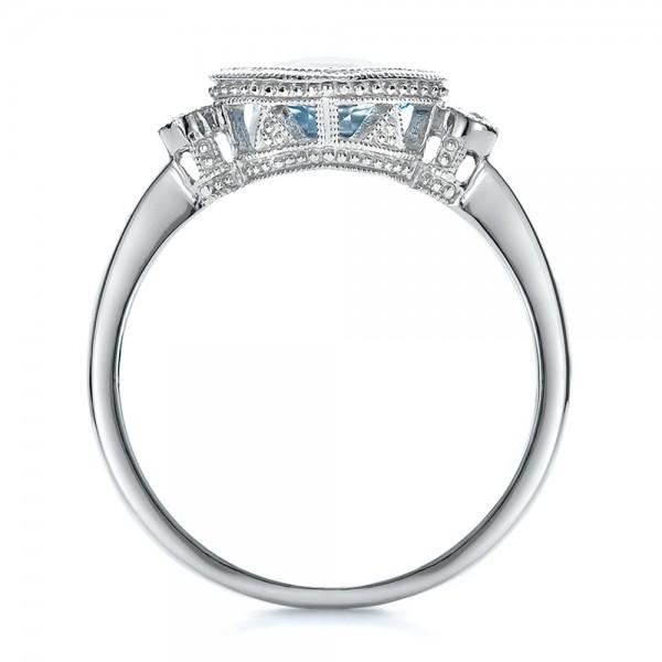 Aquamarine and Diamond Ring - Finger Through View
