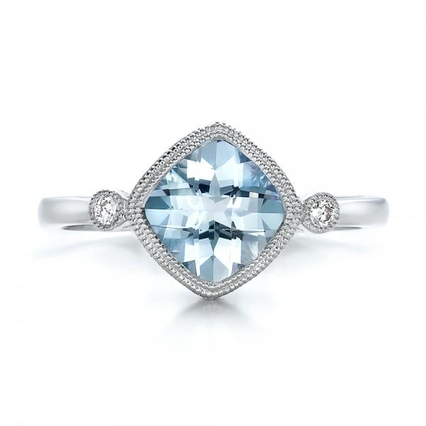 Aquamarine and Diamond Ring - Top View