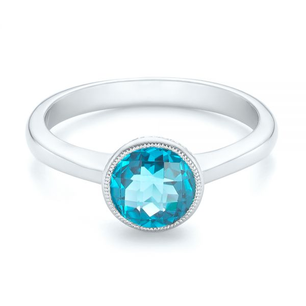 14k White Gold Bezel-set Blue Topaz Ring - Flat View -  104577