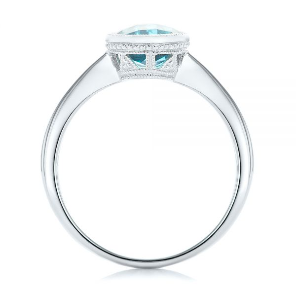14k White Gold Bezel-set Blue Topaz Ring - Front View -  104577