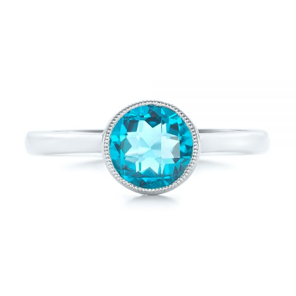 14k White Gold Bezel-set Blue Topaz Ring - Top View -  104577