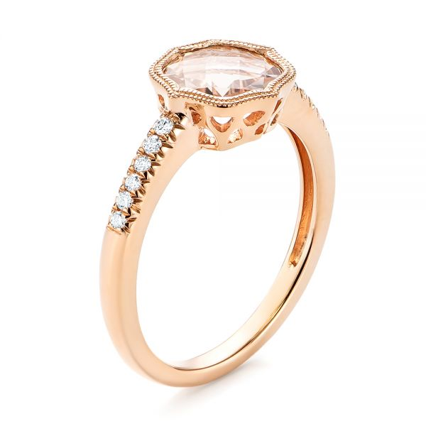 Bezel Set Morganite and Diamond Fashion Ring - Image