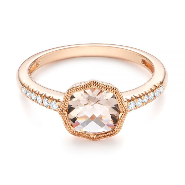 Bezel Set Morganite and Diamond Fashion Ring