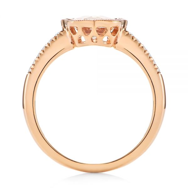 14k Rose Gold Bezel Set Morganite And Diamond Fashion Ring - Front View -  104588
