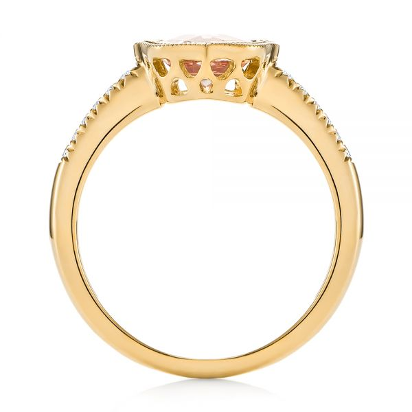 18k Yellow Gold 18k Yellow Gold Bezel Set Morganite And Diamond Fashion Ring - Front View -  104588