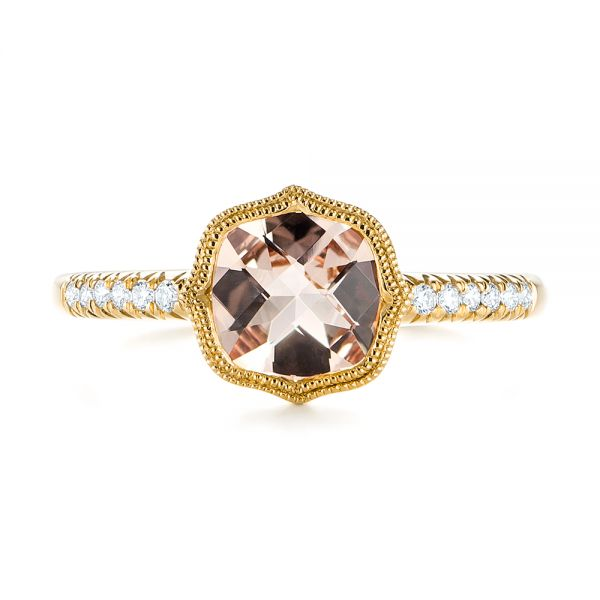 18k Yellow Gold 18k Yellow Gold Bezel Set Morganite And Diamond Fashion Ring - Top View -  104588