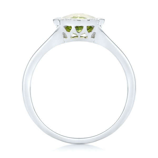 Solitaire Peridot Ring - Finger Through View