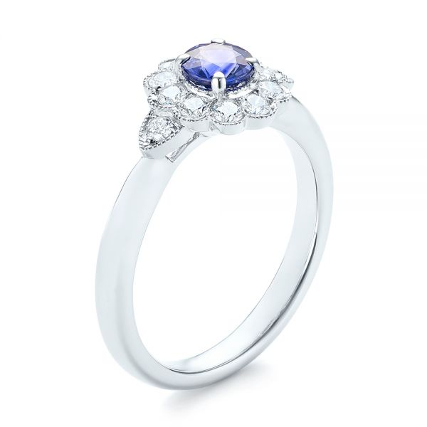 Blue Sapphire and Diamond Floral Halo Ring - Image