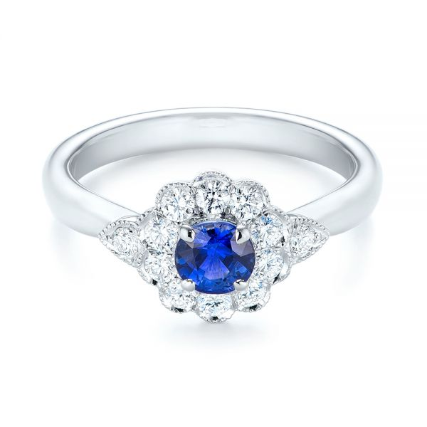 Blue Sapphire and Diamond Floral Halo Ring - Flat View -  103768 - Thumbnail